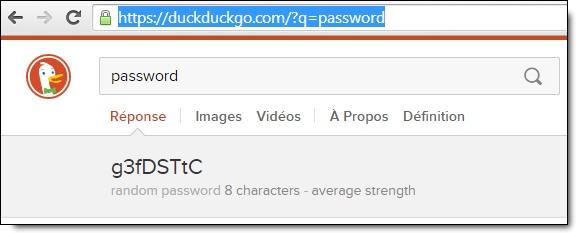 Générer un mot de passe aléatoire avec DuckDuckGo