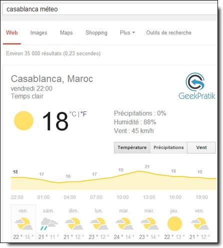 Google : la méteo