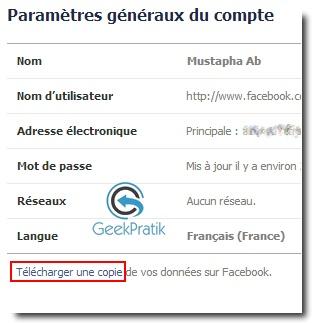 Sauvegarder un compte Facebook