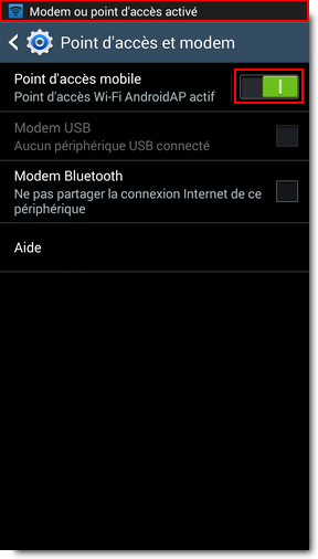 Activer le point d'accès sans fil sur le téléphone