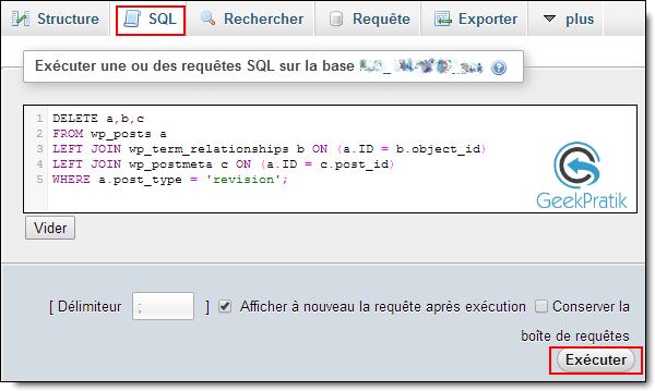 Supprimer et désactiver les révisions de vos articles dans WordPress SQL