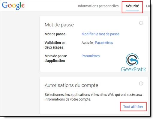 Compte Google : securite