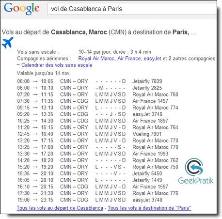 Google : Les vols