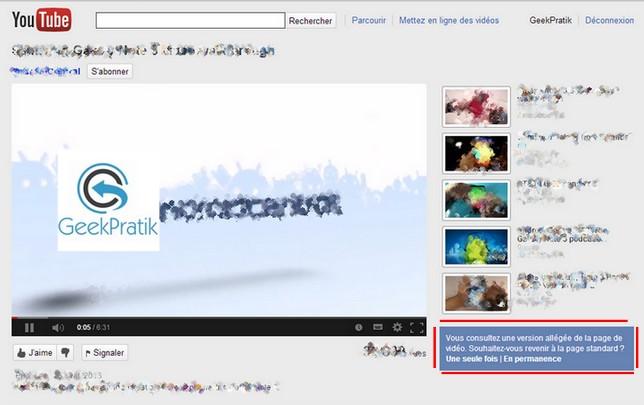 YouTube Light Apercu
