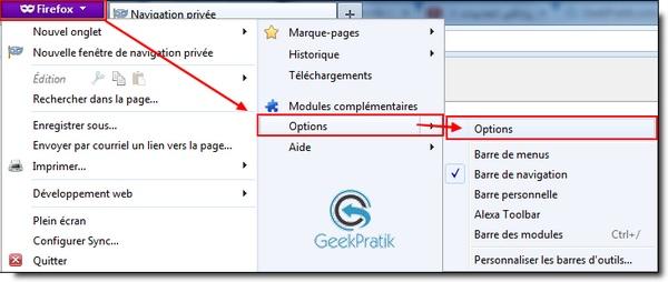 Firefox : Option