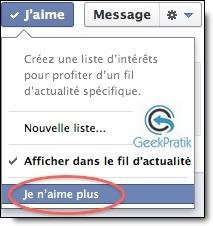 Facebook : Je n'aime plus
